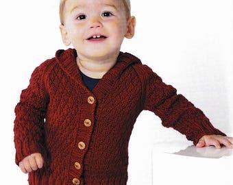 Cardigan knitting PATTERN, Baby red Hoodie cardigan knitting pattern,  PDF knitting pattern, sizing 3, 6, 12, 18, 24 months