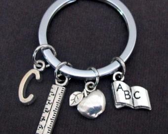 Personalized Teacher Key Chain, Teacher Appreciation Gift, Teacher Jewelry,Thank You Teacher Keyring,Apple Charm Keychain,Free Shipping USA