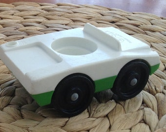 Vintage Fisher Price - White and Green Car