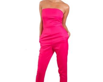 Wonderland strapless long legged 'Tweedle D Jumpsuit' *Limited Edition - Pink