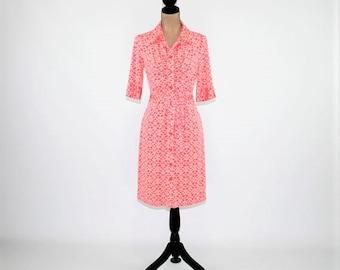 Casual Dress Women Medium Knit Dress Button Up Midi Pink Print Dress Belted 3/4 Sleeve Day Dress Jersey Stretch Knit Size 8 Womens Clothing