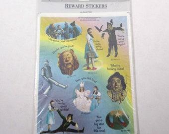 Vintage des années 1990 marque magicien d'Oz récompense autocollants en paquet de 8 feuilles ouvert NOS