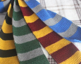 Knitted wizard school scarves