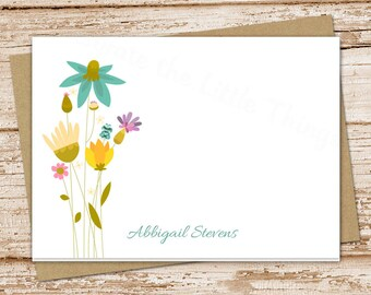 wildflowers personalized note cards . meadow flowers notecards . folded personalized stationery . botanical stationary . set of 8