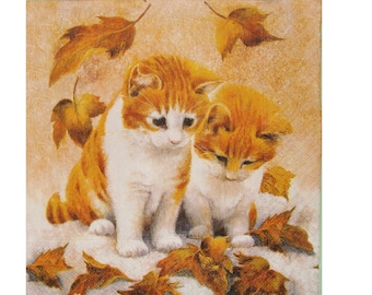 Set of 3 Red ANI031 kittens paper napkins