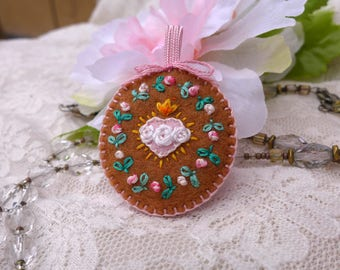 Hand-Embroidered Badge - Immaculate Heart + Rosebuds