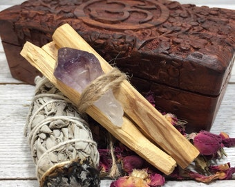 Amethyst Meditation Altar Box | Smudging Sage, Palo Santo w/ Amethyst Crystal Point, Moroccan Rose Buds - Gift Box Set