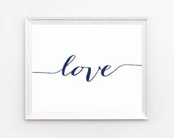 Love Print, Love Printable Wall Art, Love Wall Art, Home Decor, Navy Blue Wall Art Print, Navy Blue Decor, Love Art, Quote Art, Nursery