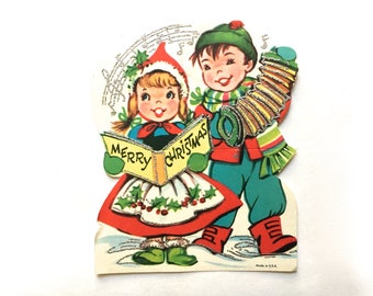 "Vintage Christmas Card ""Merry Christmas"" Sweet Christmas Carolers 1950's Glitter card ~Unused excellent condition!"