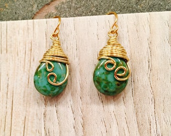 EARRINGS  for FALL Wire Wrapped Green Agate Gorgeous Marbled Stone Gold tone wire Swirly Classic Design and Style Women Fashionable Trending