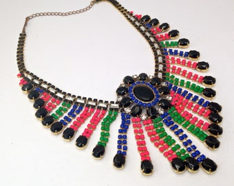 Neon Vintage Hand Painted Rhinestone Statement Necklace - Bib