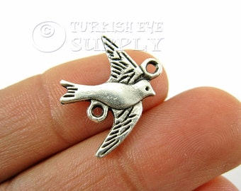 5 pc Silver Swallow Connector, Bird Charm Connectors, Matte Antique Silver Plated Swallow Charms, Pendant, Finding, Turkish Jewelry