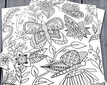 Adult Colouring Pages, Printable Colouring Pages, Bird, Butterfly, Whale Doodle Art, Downloadable Colouring