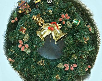Christmas Wreath, Moving Train use on Door or Center-Piece, Motion Activated Lights, Music