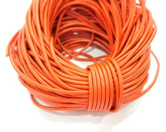 Leather Orange Cord 1mt-3.3 ft (2mm) Round Leather Lacing G7967