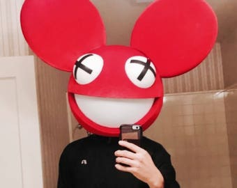Red Deadmouse inspired by a deadmau5 head halloween cosplay