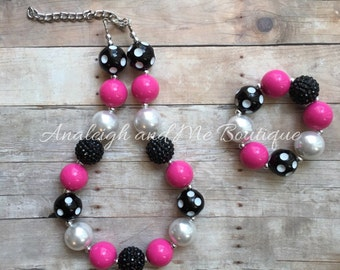 Toddler Pink and Black Chunky Necklace, Pink and Black Necklace, Toddler Pink and Black Chunky Necklace, Pink Black and White Chunky Necklac