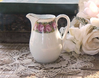 Antique Beyer and Boch German Creamer, French Farmhouse Cottage Style, Rosebuds China Table Decor, Vase