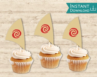 Moana Cupcake Topper, Moana Boat Sail Cupcake topper Printable Instant Download