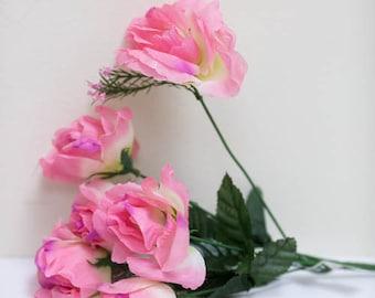 Pink silk flowers etsy pink silk roses 72pc light pink and ivory rose bush blush pink silk flowers mightylinksfo