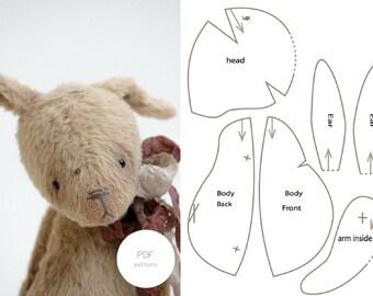 PDF Sewing Pattern Stuffed & Tutorial Mohair Rabbit 7 Inches Stuffed Animal Pattern Easter Bunny Pattern Artist Teddy Bear Pattern For Women