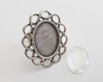 Ring Blanks Iron with Glass Cabochons Adjustable 18mm x 13mm Antique Silver Tone (2)