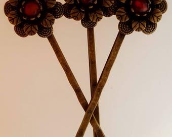 Carnelian Bead Bobby Pin Set