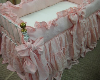 Cameo Washed Linen Custom Shabby Style Nursery Bedding-Torn Ruffle Crib Skirt with Velvet Ribbon Detail-Ruffled Bumpers-Fitted Crib Sheet