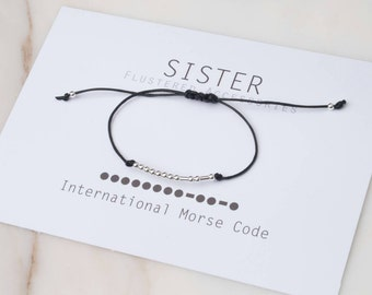 Morse Code Bracelet, Sister Morse Code, Minimalist Jewelry, Gift for Sister, Jewelry,  Sterling Silver Beaded, Dainty Bracelet,