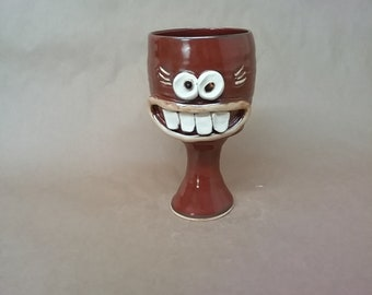 Wine Goblet for Her. Mom Wine Lover Drinker Ceramic Wine Glasses. Stoneware Pottery Toasting Glass in Red. Funny Faces Gag Gifts for Her