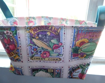 SALE Handcrafted Fabric Basket 18 Inches Long & 10 Inches High, Farmer's Market, Garden