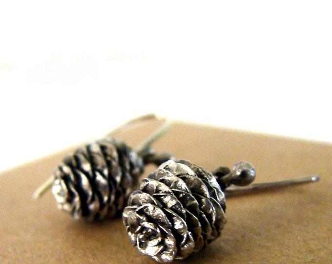 Pine Cone Dangle Earrings Sterling Silver Woodland Series