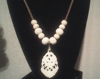 Leather and bone necklace