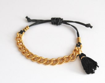 Black bracelet with chunky chain, black boho tassel bracelet, black and gold