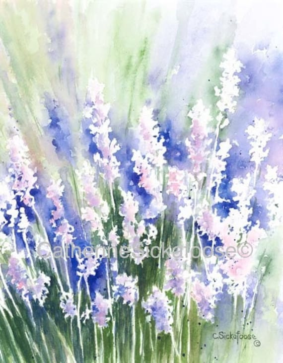 Lavender CardsWATERCOLOR PAINTING Purple Blue Pink Green Flowers Red Rocks