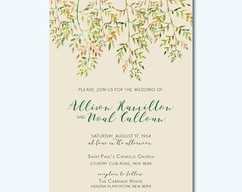 Modern Branches Printable Wedding Invitation
