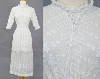 Antique White Edwardian Tea Dress, Embroidered 1910s Cotton Lace Dress, Bohemian Wedding Dress, Romantic Boho Chic