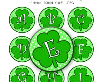 Sale - Shamrock Clover Alphabet Bottle Cap Images - St. Patrick's Day Digital Collage 1 Inch Circles A-Z Digi - Instant Download - BC1151