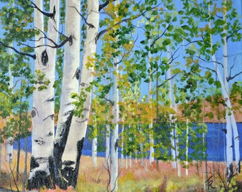 Original oil painting aspen trees landscape painting art lake painting autumn painting fall aspen fall painting fine art gallery wrap canvas
