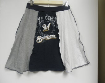 Handmade, recycled, grey, white and navy t-shirt skirt for the Brewers