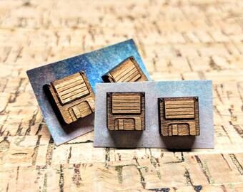 Floppy Disk Earrings / Wood Stud Earrings / Laser-Cut Wood Studs / Square Walnut Wood Earrings / Retro Geek Nerd Jewelry / Hypoallergenic