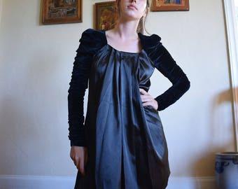 Black Satin and Velvet Mini Dress