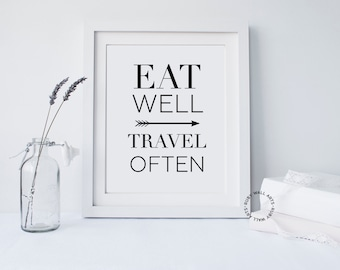 Eat Well Travel Often, Wall Quote, Printable, Home Decor,Prints, Inspirational Quote,Gallery Wall, Typography,Wall Art