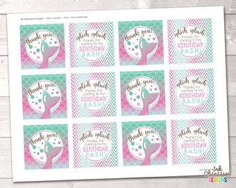 Mermaid Birthday Party Circles for Cupcake Toppers or Favor Tags, Instant Download Mermaid Party Printables