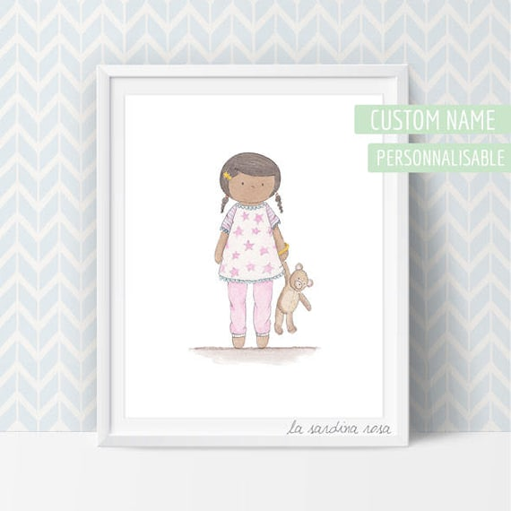 affiche chambre enfant illustration aquarelle petite fille. Black Bedroom Furniture Sets. Home Design Ideas