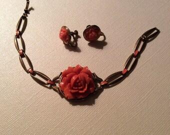 Coral bakelite roses, bracelet and earrings