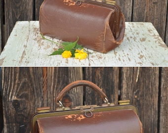 Leather Doctors Bag, Antique Doctors Case, Doctor Travel Bag, Carry On Bag, Antique Leather Bag, Brown Case Handbag, Steampunk Bag
