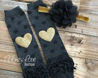 Gold glitter heart gray black polka dot ruffle bottom leg warmers stockings leggings, black flower headband bow, baby toddler little girl