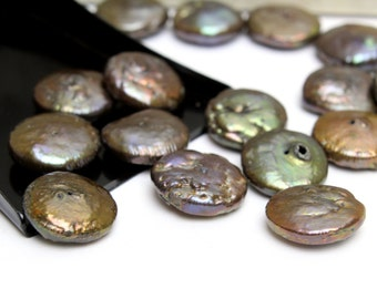 Brown Green Iridescent Freshwater Coin Pearls 12mm  6pcs