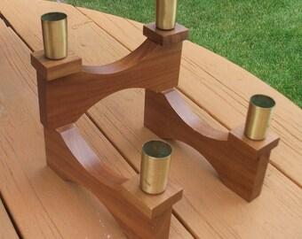 Vintage Swivel Teak Wood Candle Holders Mid Century Home Decor